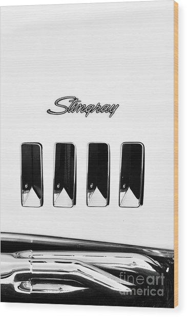 72 Stingray Monochrome  Wood Print