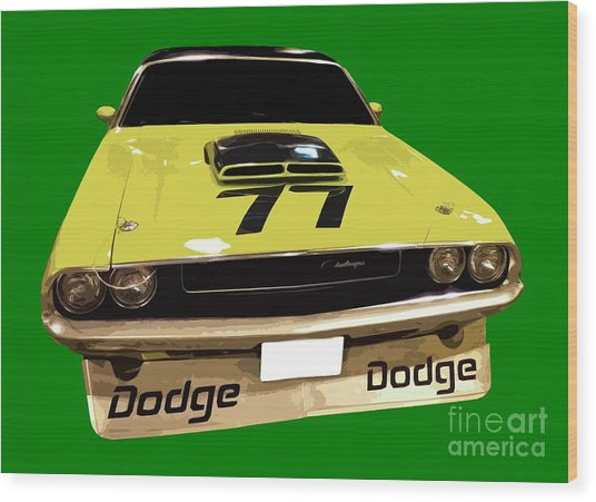 77 Yellow Dodge Wood Print