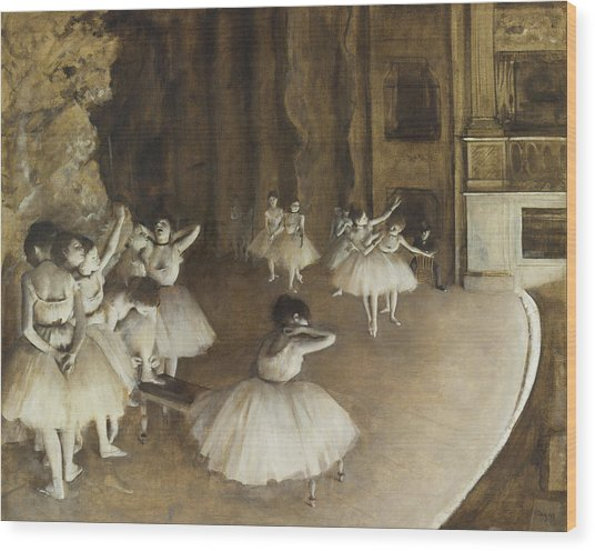 Ballet Rehearsal On Stage Wood Print