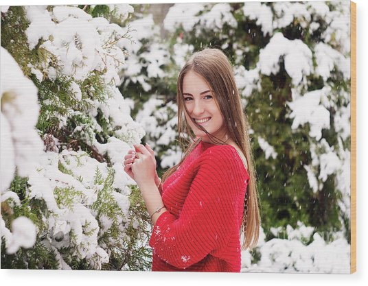 Beautiful Young Girl Model In Winter In A Parked Park. In A Red Sweater. Wood Print by Oleksandr Masnyi