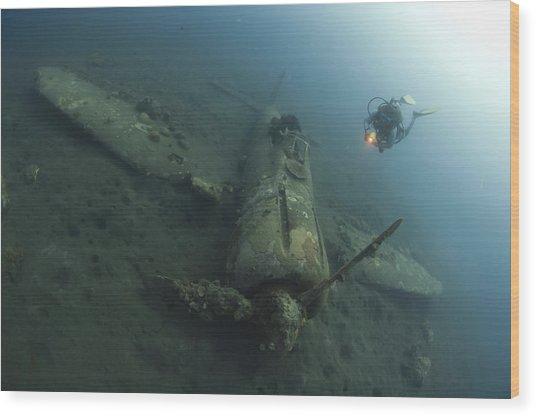 Diver Explores The Wreck Wood Print