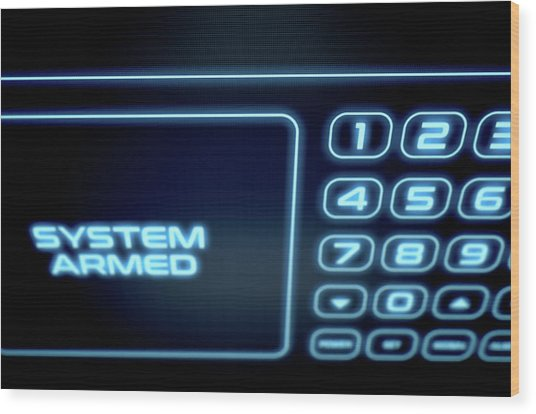 Modern Interactive Home Security Wood Print by Allan Swart