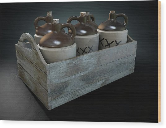 Moonshine In Wooden Crate Wood Print