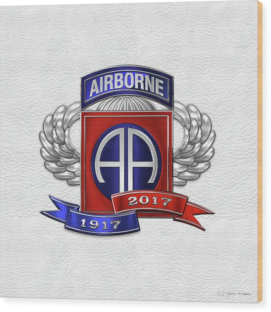 82nd Airborne Division 100th Anniversary Insignia Over White Leather Wood Print