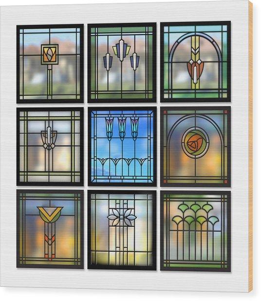 9 Bungalow Windows Wood Print