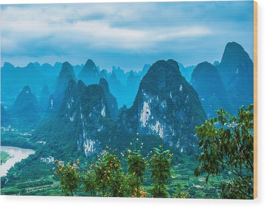 Karst Mountains Landscape Wood Print