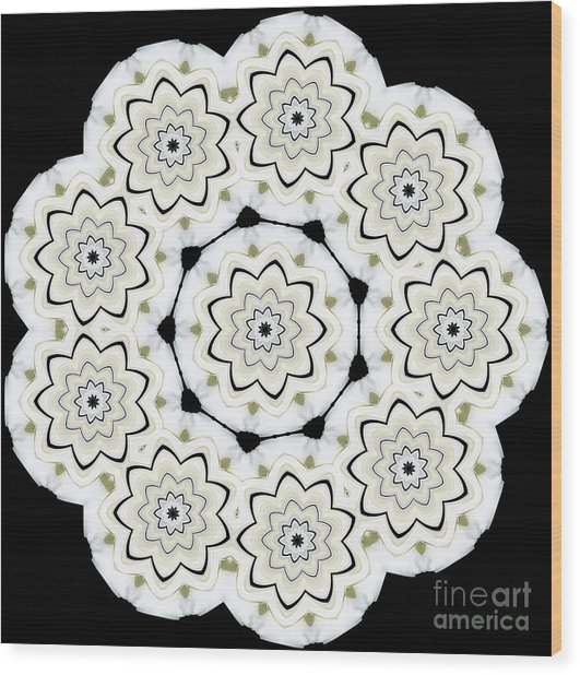 9-pointed Orchid Star Wood Print