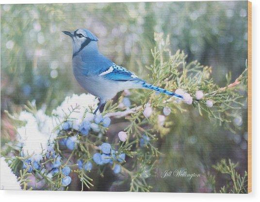 Wood Print featuring the digital art Winter Birds by Jill Wellington