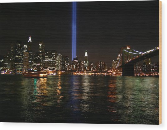 911 Memorial Lighting Wood Print by Dennis Curry