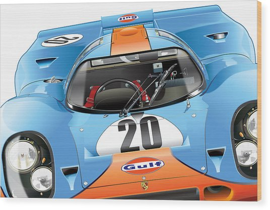 Porsche 917 Illustration Wood Print