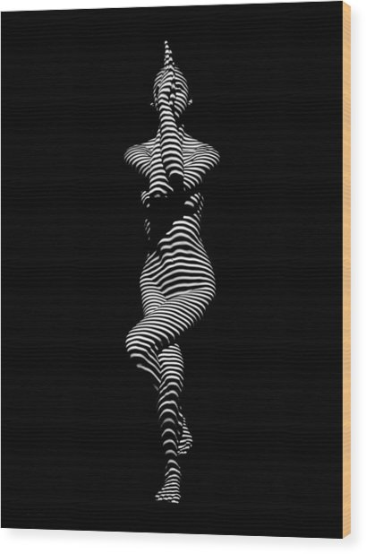9486-dja Yoga Woman Illuminated In Stripes Zebra Black White Absraction Photograph By Chris Maher Wood Print
