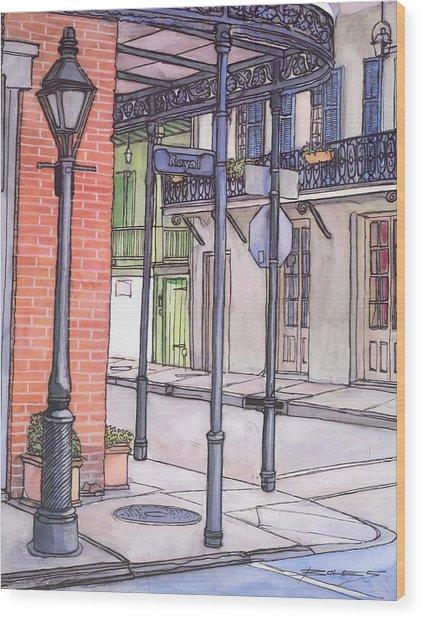 96  French Quarter Corner Of Royal Wood Print by John Boles