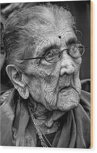 96 Year Old Indian Woman India Day Parade Nyc 2011 2 Wood Print