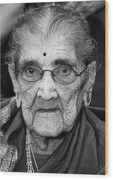96 Year Old Indian Woman India Day Parade Nyc 2011 Wood Print
