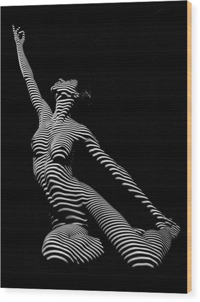 9970-dja Zebra Striped Yoga Reaching Sensual Lines Black White Photograph Abstract By Chris Mahert Wood Print