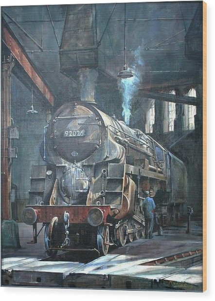 9f On Saltley Shed 1958. Wood Print by Mike Jeffries