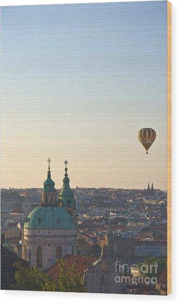 A Balloon Over Prague Wood Print by Hideaki Sakurai