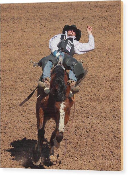 A Bareback Rider Aboard A Bronco, Tucson, Arizona Wood Print