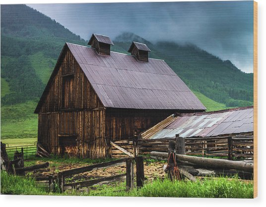 A Barn In Crested Butte Wood Print