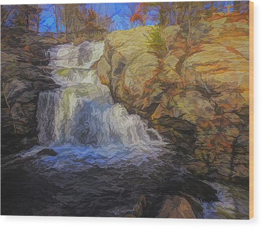 A Beautiful Connecticut Waterfall. Wood Print
