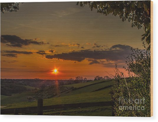 A Beautiful Sunset Over The Surrey Hills Wood Print