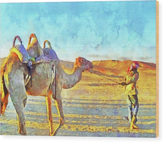 A Bedouin And His Camel Wood Print