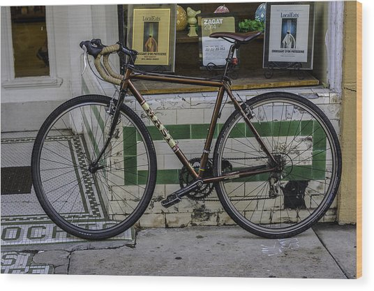 A Bicycle In The French Quarter, New Orleans, Louisiana Wood Print