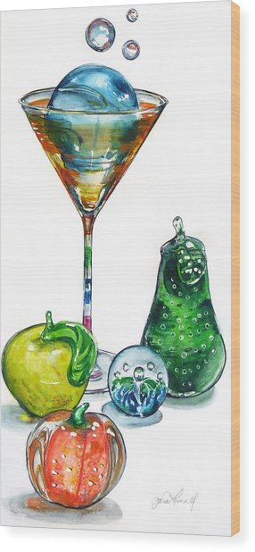 A Bit Of The Bubbly Wood Print by Jane Loveall