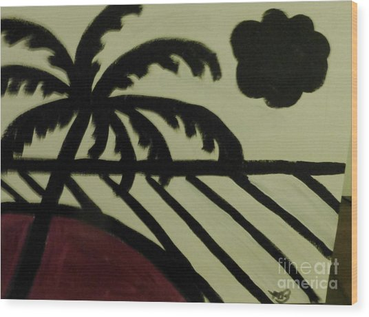 A Black And White Beach Scene Wood Print by Marie Bulger
