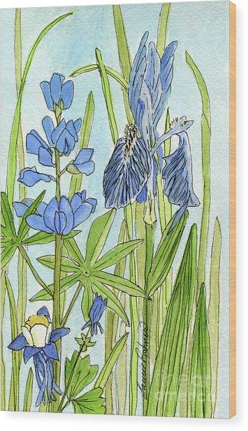 A Blue Garden Wood Print