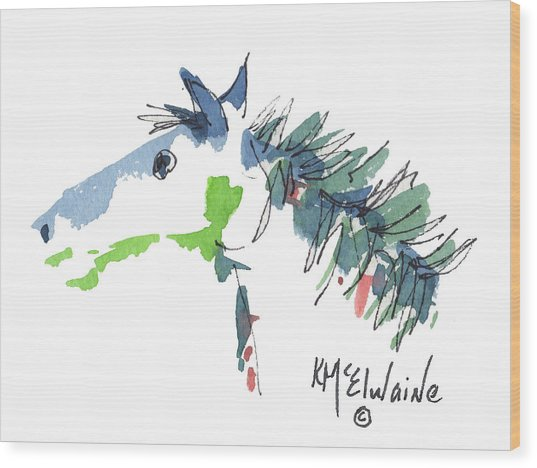 A Blue Roan Horse Watercolor Painting By Kmcelwaine Wood Print