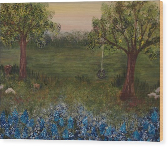 A Bluebonnet Swing Wood Print by Shiana Canatella