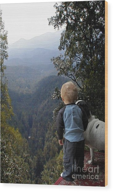 A Boy And His Dog Wood Print