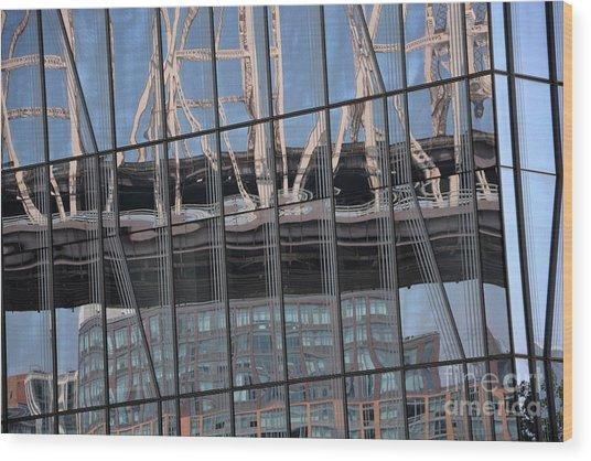 A Bridge Presses Down Wood Print by Andrea Simon