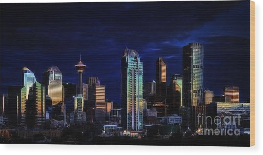 A Calgary Sunrise Wood Print