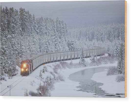 A Canadian Pacific Train Travels Along Wood Print
