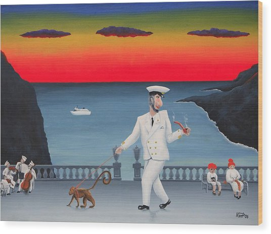 A Captain And His Monkey Wood Print by Poul Costinsky