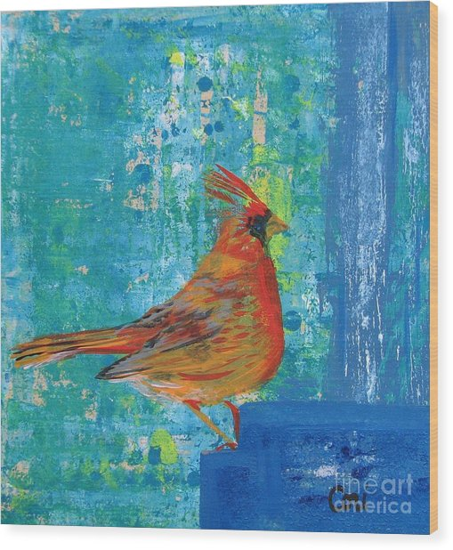 A Cardinal Came By Wood Print