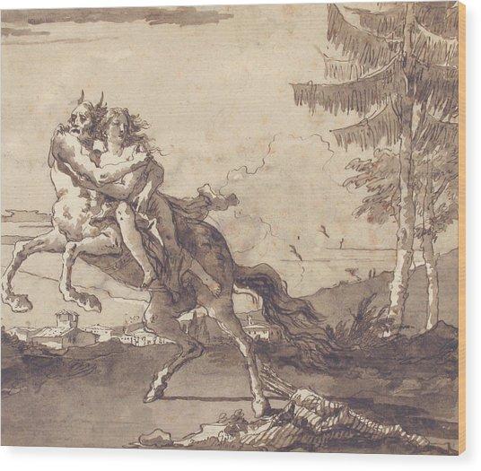 A Centaur Abducting A Nymph Wood Print