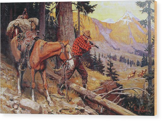 A Chance On The Trail Wood Print