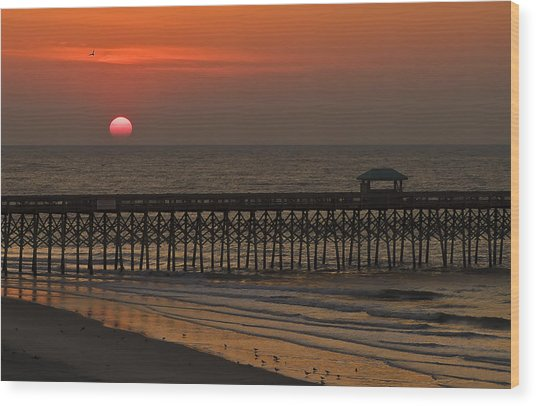 A Charleston Sunrise On The Pier Wood Print by Michael Whitaker
