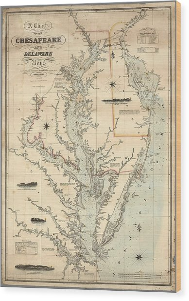 A Chart Of The Chesapeake And Delaware Bays 1862 Wood Print