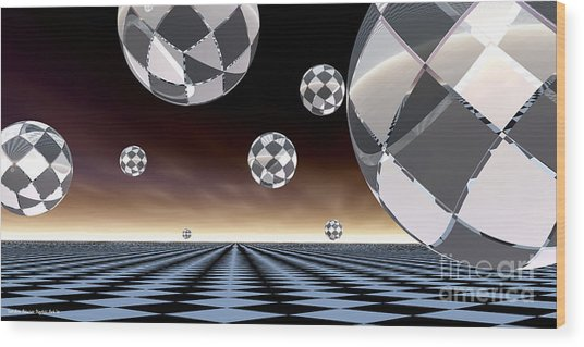 A Checkered Past Wood Print by Sandra Bauser Digital Art
