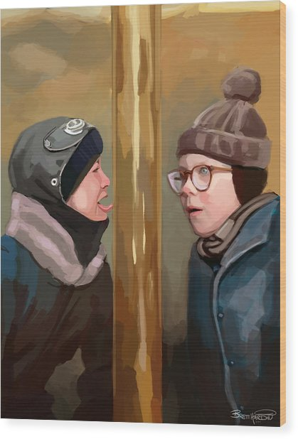 A Christmas Story Tongue Stuck To Pole Wood Print