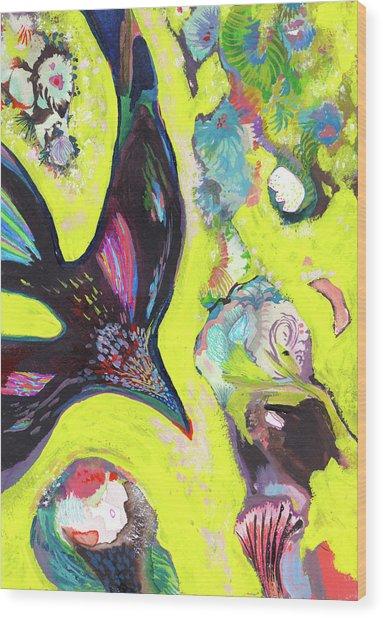 A Crows Dream - Ss18dw019 Wood Print by Satomi Sugimoto
