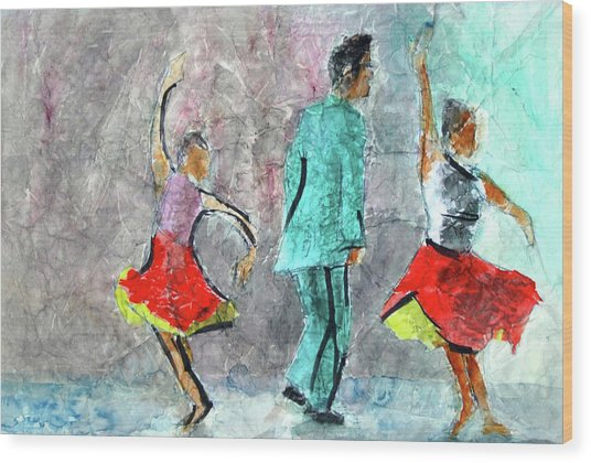 A Dance For Three Wood Print by Donna Crosby