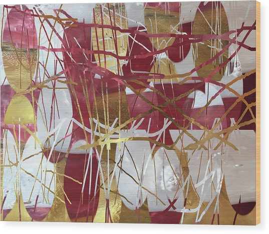 A Dance Of Rubies And Old Gold Wood Print