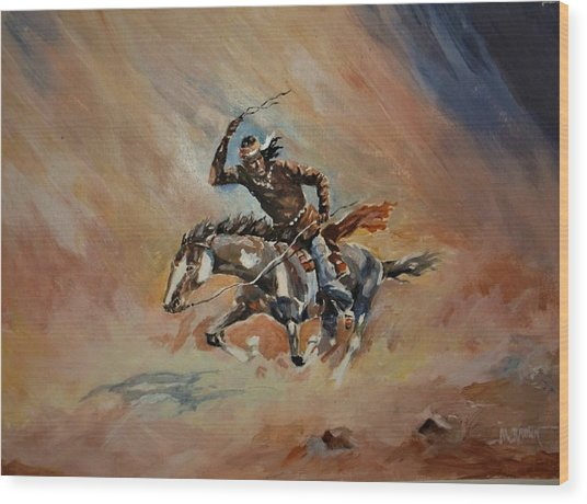 A Dash For Cover Racing Oncoming Sandstorm   Wood Print