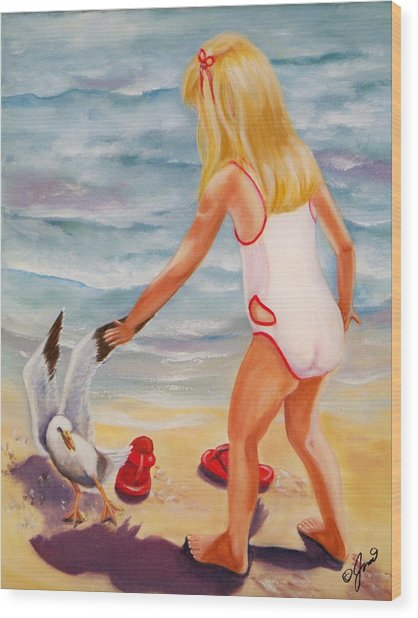 A Day At The Beach Wood Print by Joni McPherson