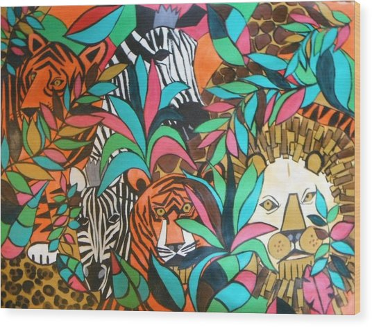A Day At The Zoo Wood Print by Kelli Perk